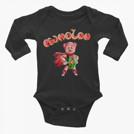 Pigmelon Essentials Long Sleeve Baby Bodysuit Black