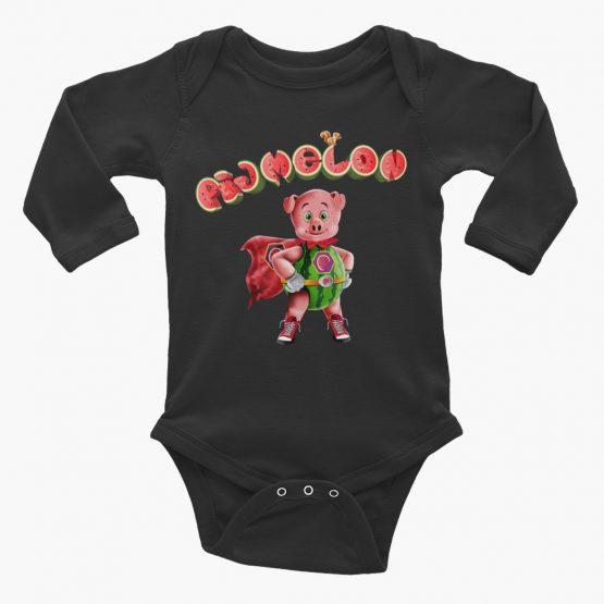 Pigmelon Essentials Long Sleeve Baby Bodysuit Black