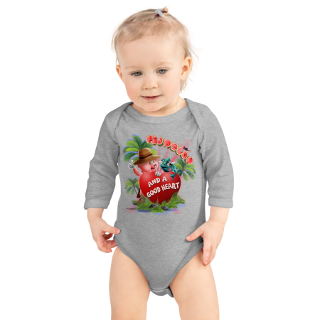 Pigmelon Long Sleeve Baby Onesie - Heart