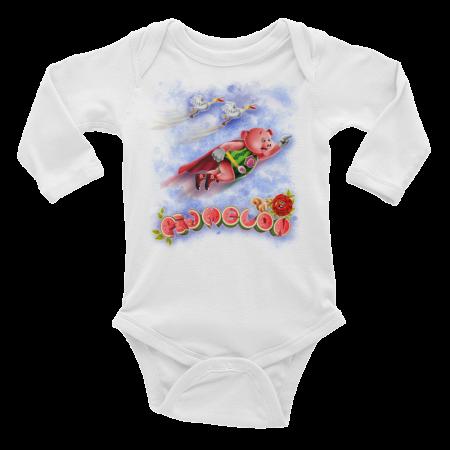 Pigmelon Long Sleeve Baby Onesie - Storks